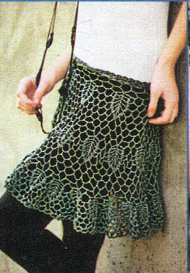 Вязаная юбка крючком.