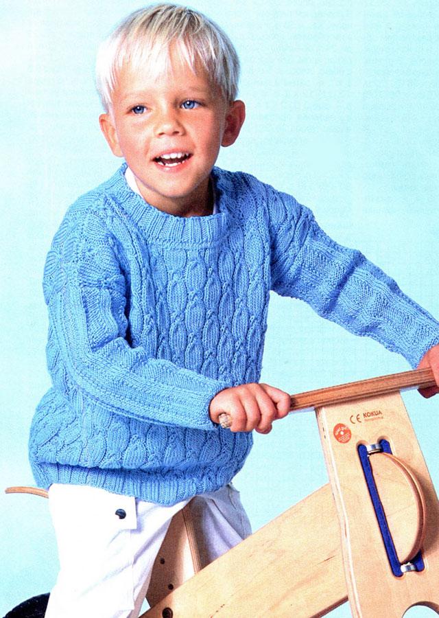 Джемпер для мальчика вязаный спицами