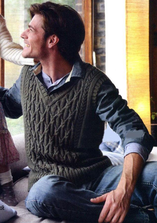 Вязание спицами жилет мужской схема вязания