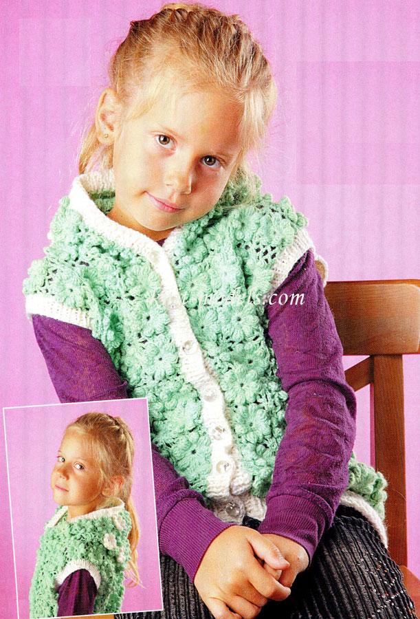 Вязаная жилетка крючком для девочки. Мастер-класс с