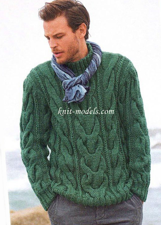 Мужской свитер узором из кос
