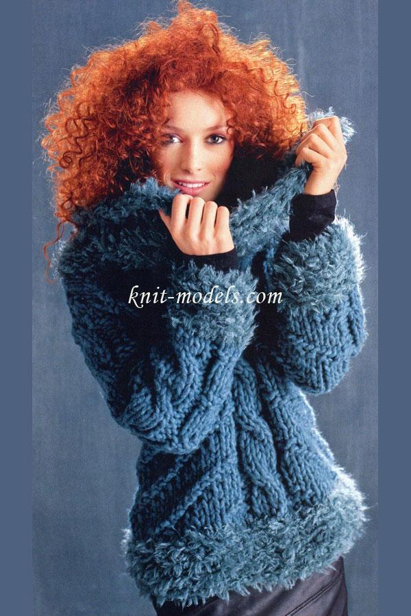 Толстый свитер с меховой