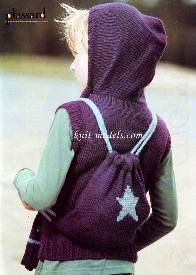 Детский вязаный рюкзак