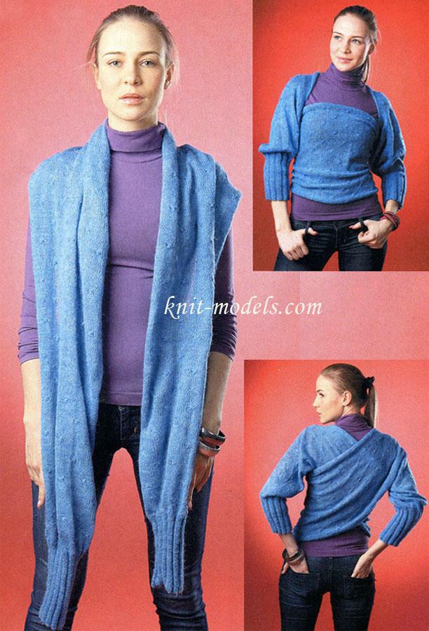 Вязание спицами шарфа трансформера 69
