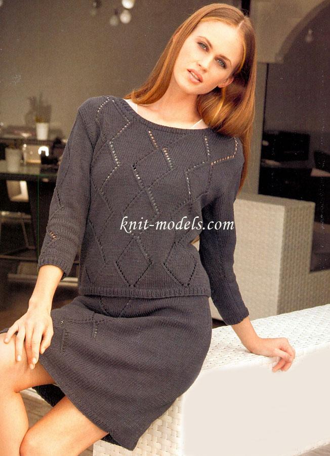 Комплект юбка и кофта вязанные