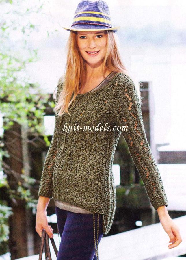 Вязаный ажурный пуловер с доставкой