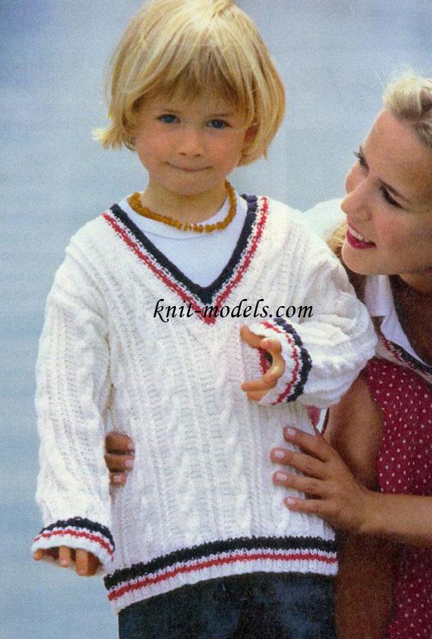Вязание спицами для детей. Пуловер