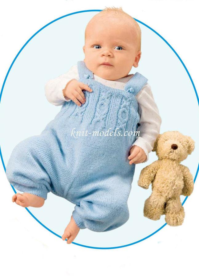 Пошаговое вязание комбинезона для новорожденного спицами