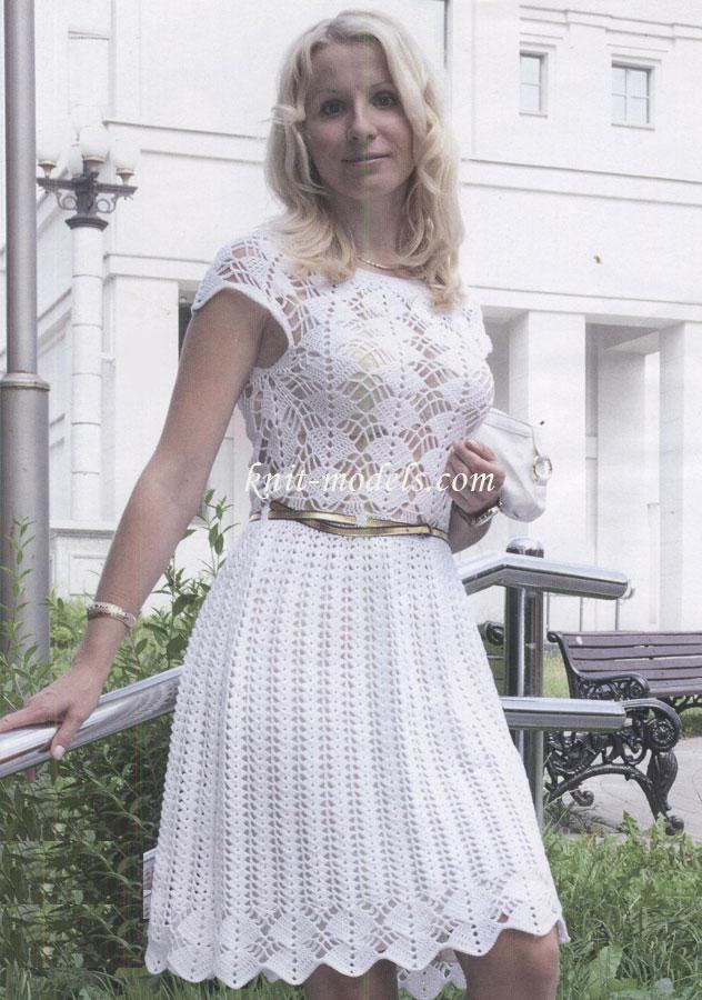 Вязание платья крючком с верху