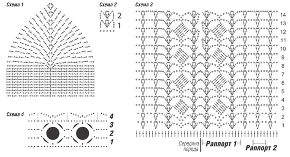 Схема вязания крючком летнего платья или сарафана 923
