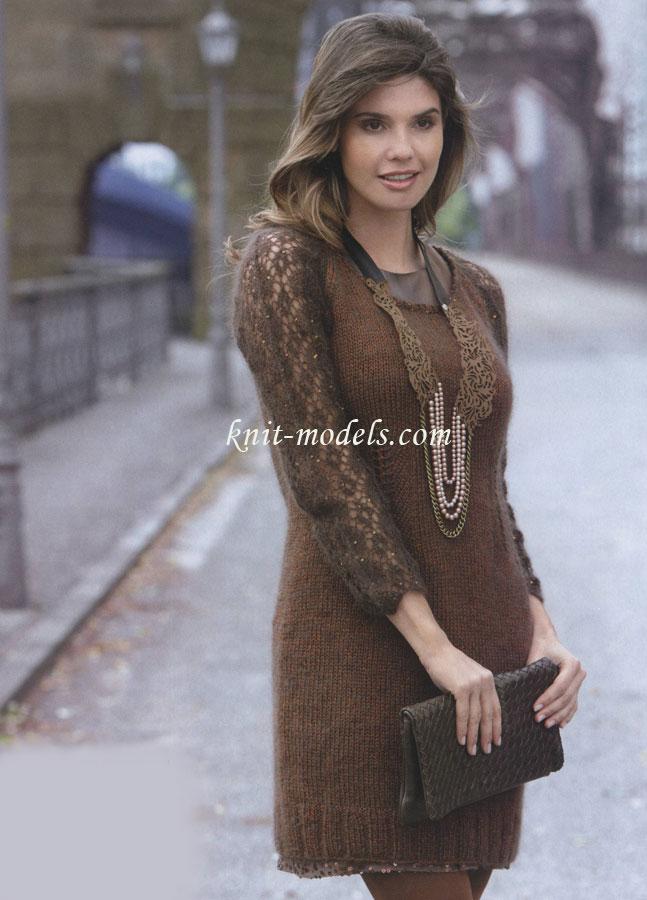 платье реглан с ажурными рукавами