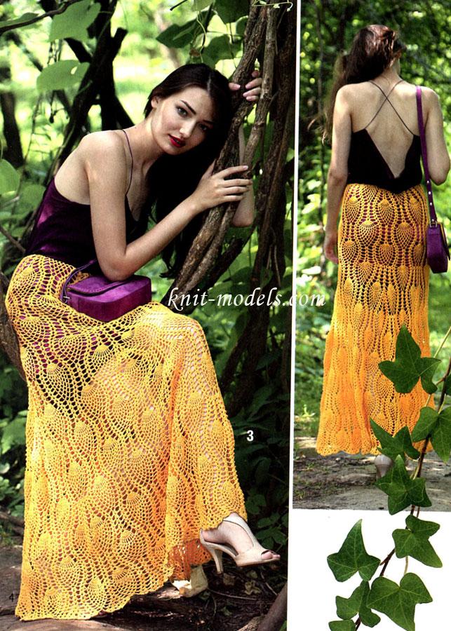 Длинная юбка ананасами крючком
