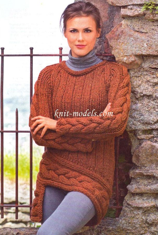Пуловер реглан из толстой пряжи