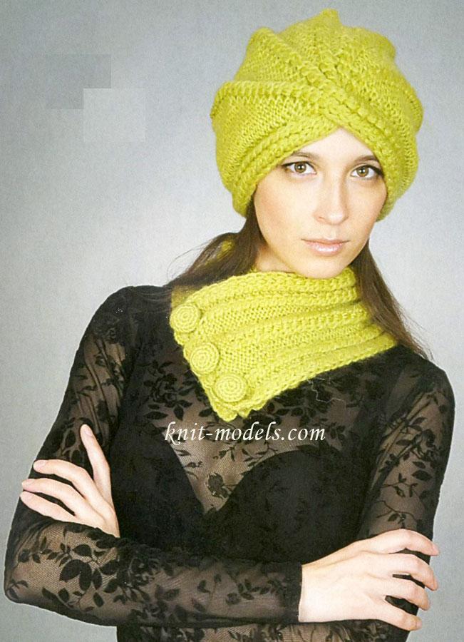 Шапка-чалма и шарф-воротник