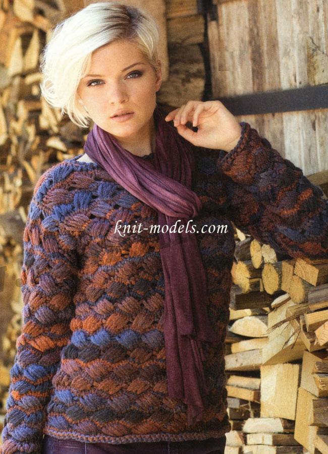 Вязаный Пуловер Из Меланжевой Пряжи Доставка