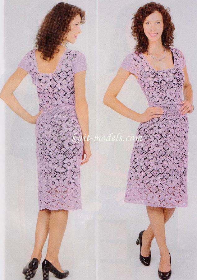 ажурное платье из квадратных мотивов