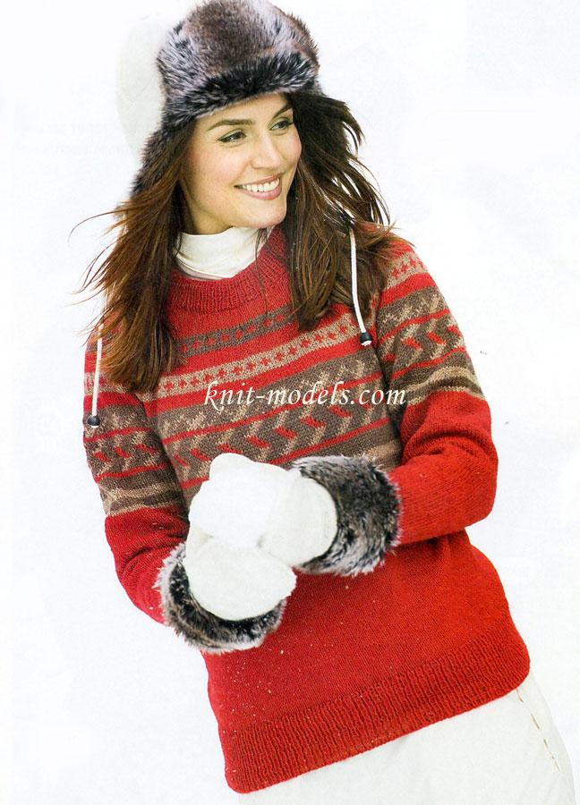 Бесшовный пуловер с кокеткой