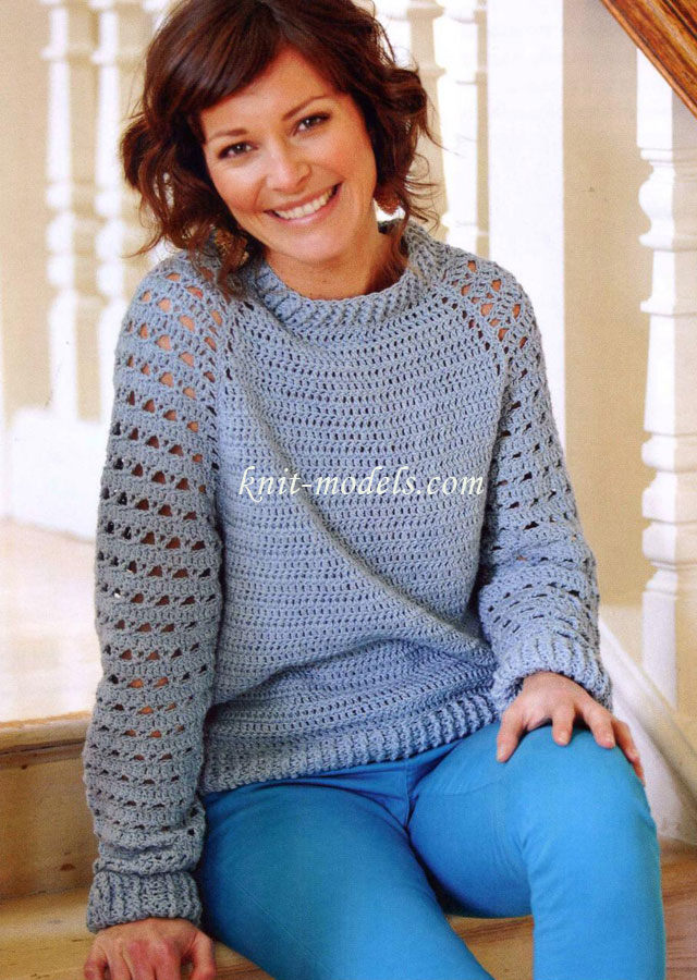 Пуловер реглан вязаный крючком