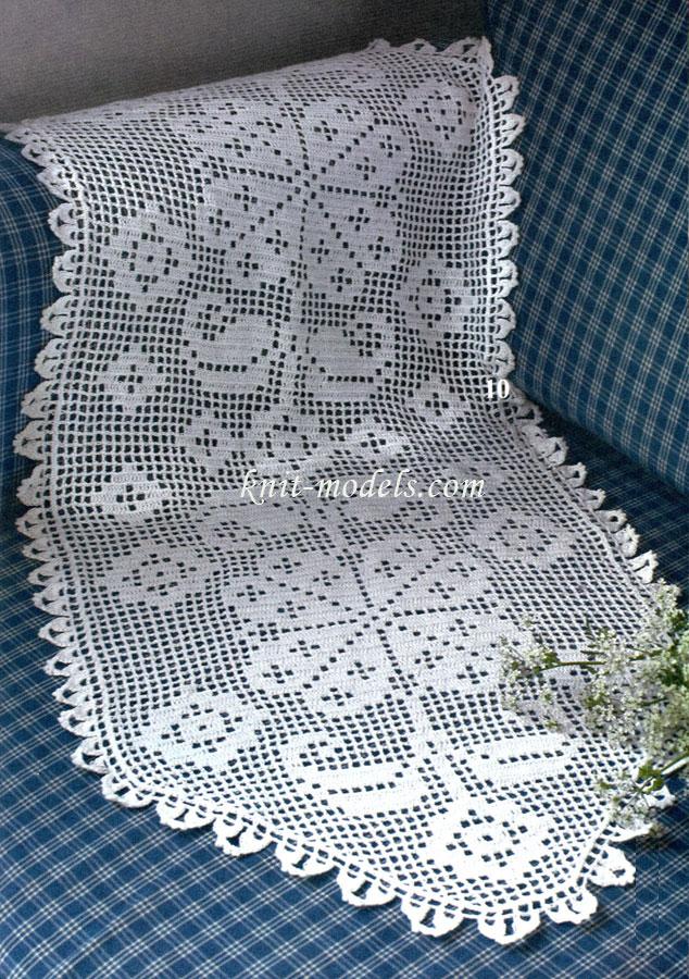 Дорожка филейным вязанием