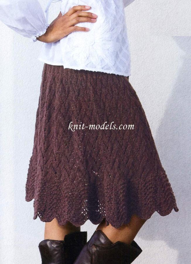 Вязаные спицами женские юбки с
