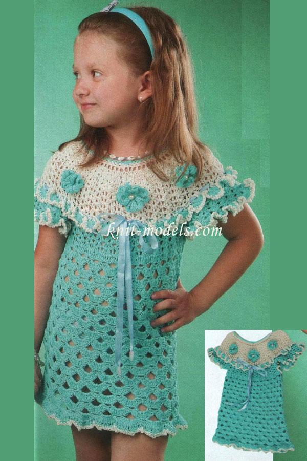 Платья крючком двухцветное