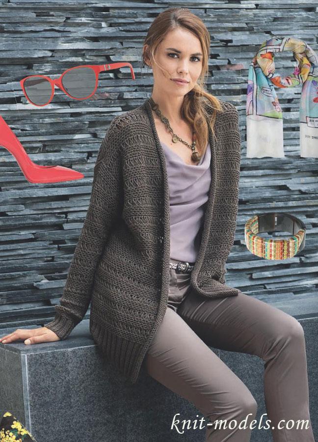 Жакет с плетеным узором