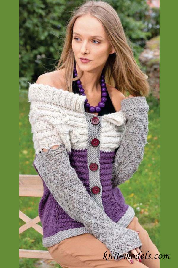 Молодежный жакет вязание спицами