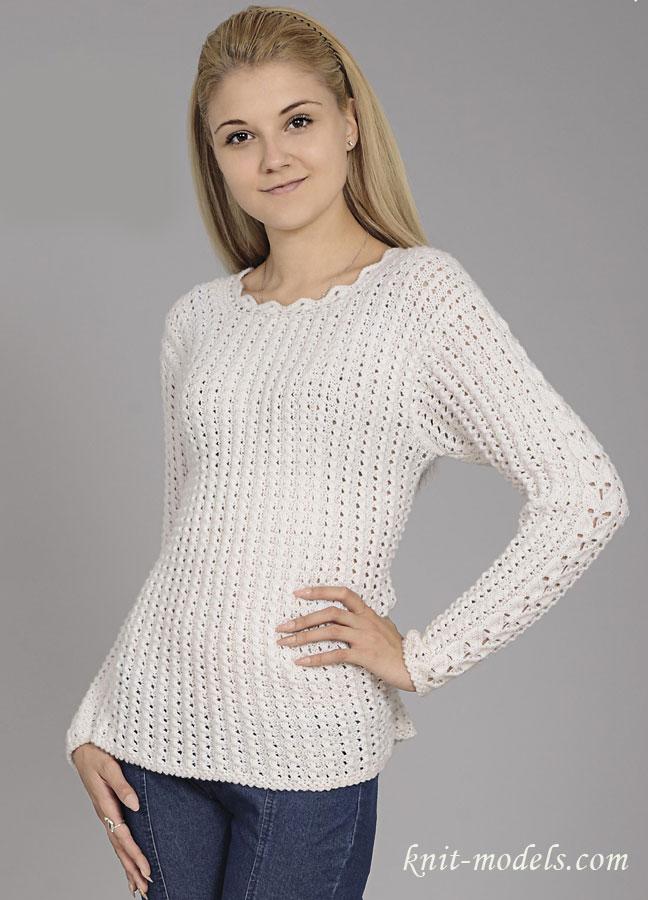 cab981648f5 Белый ажурный пуловер