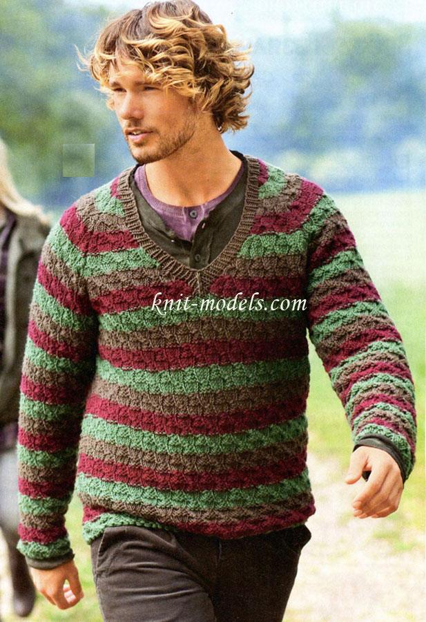 Пуловер реглан с V-образным