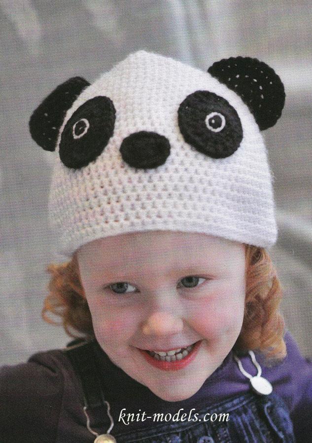 Детская шапочка Панда · Детская шапочка вязаная крючком