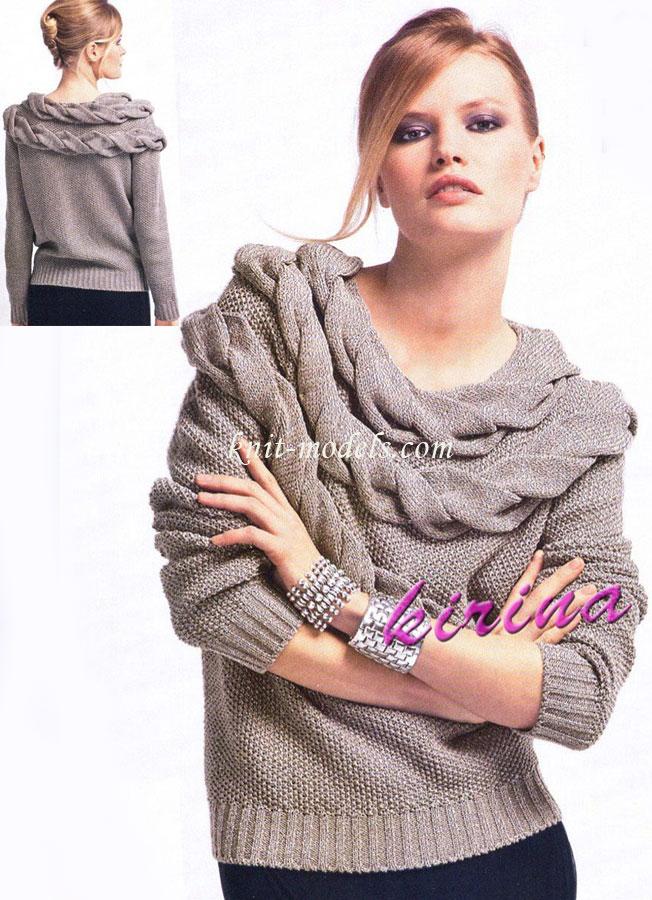 Пуловер с отделкой из косы