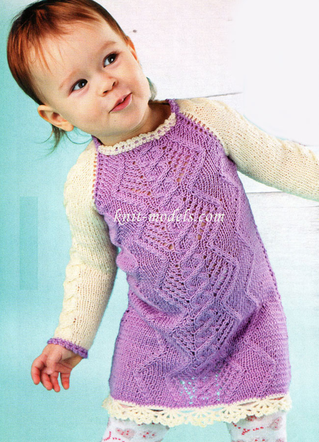 Вязание для детей. Вязание спицами. Платье