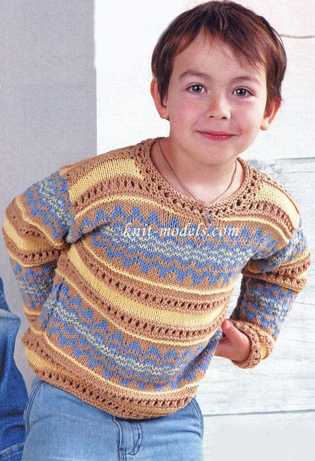 Детский пуловер с жаккардом