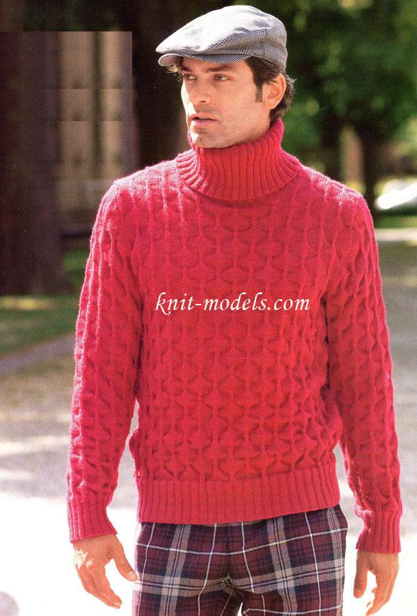 Мужской свитер с рисунком соты