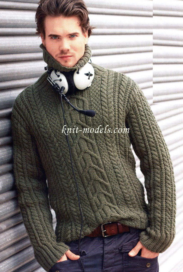 Мужской пуловер с узором из