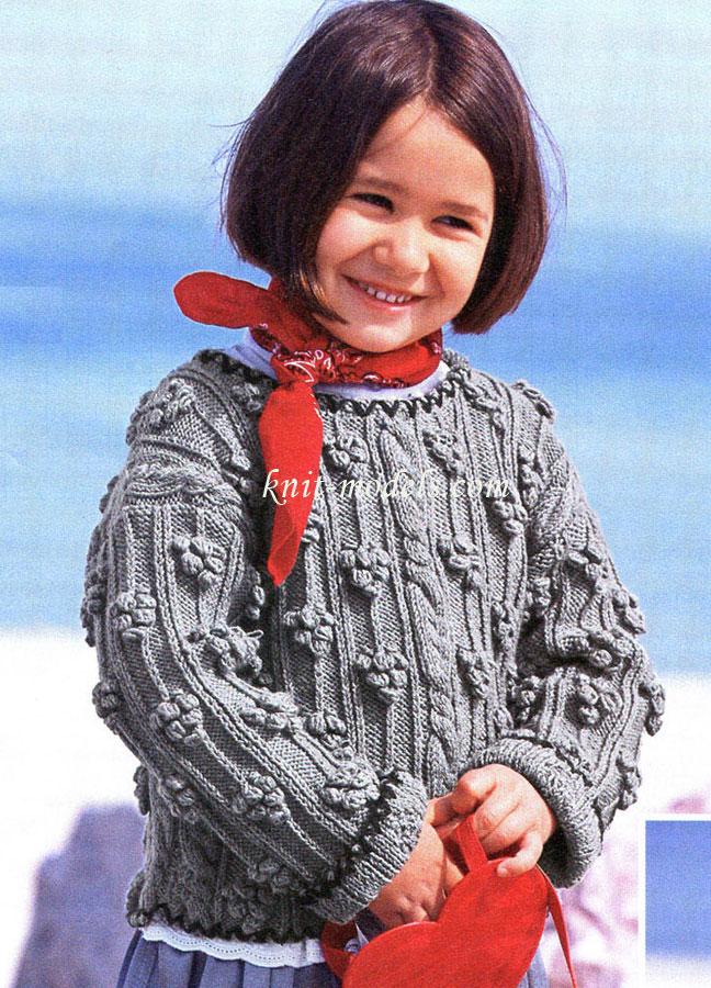 Вязание для девочек спицами. Кофточка