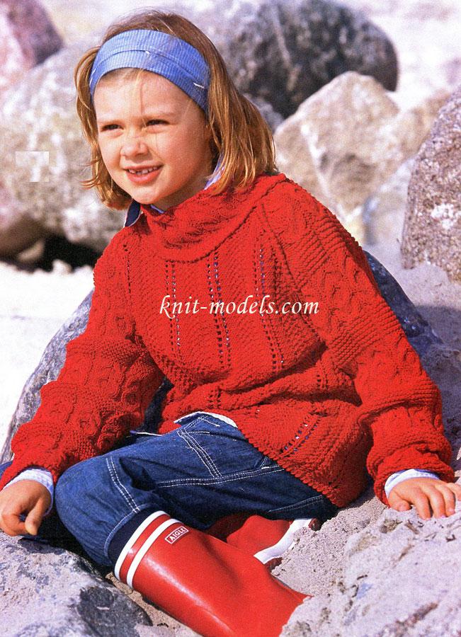 Пуловер для девочки вязаный спицами