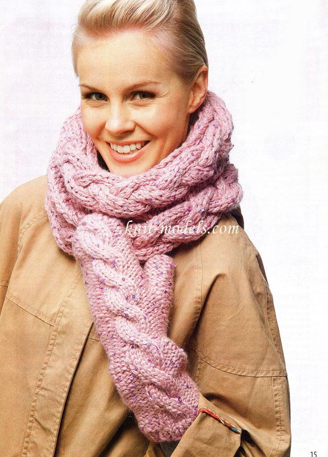 Вязание шарфа-снуд коса