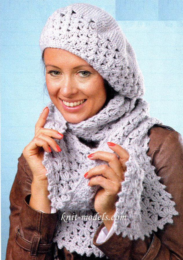 Комплект берет и шарф связан крючком