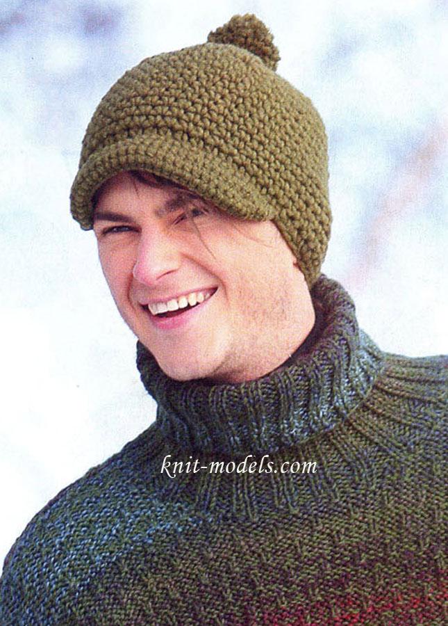 Мужская шапка с козырьком и помпоном связана крючком.  Обхват головы: 56 см. Вам потребуется: пряжа Novita Kelo...