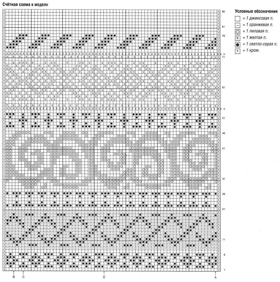Жаккардовые узоры спицами: разные техники 79