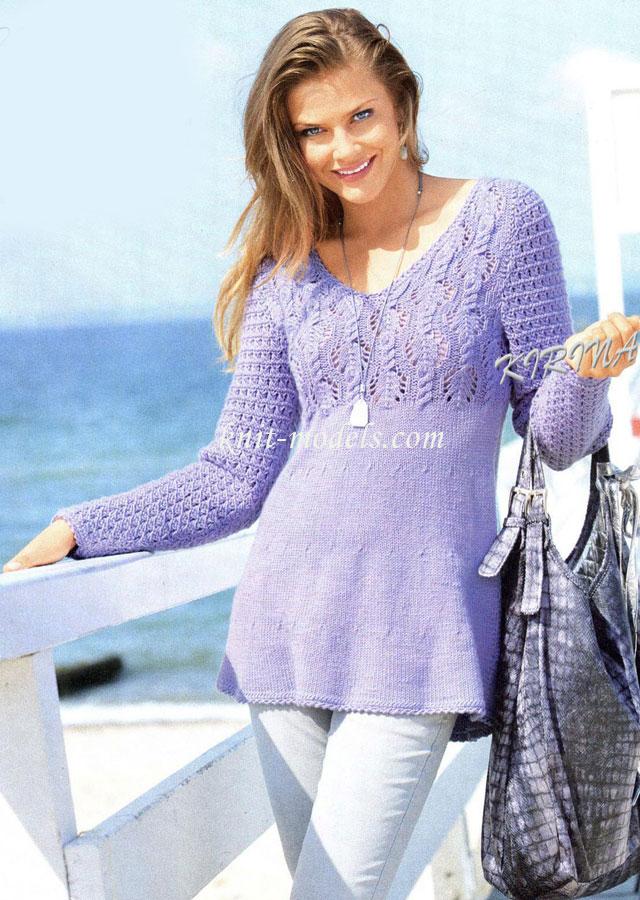 Пуловер вязаный спицами