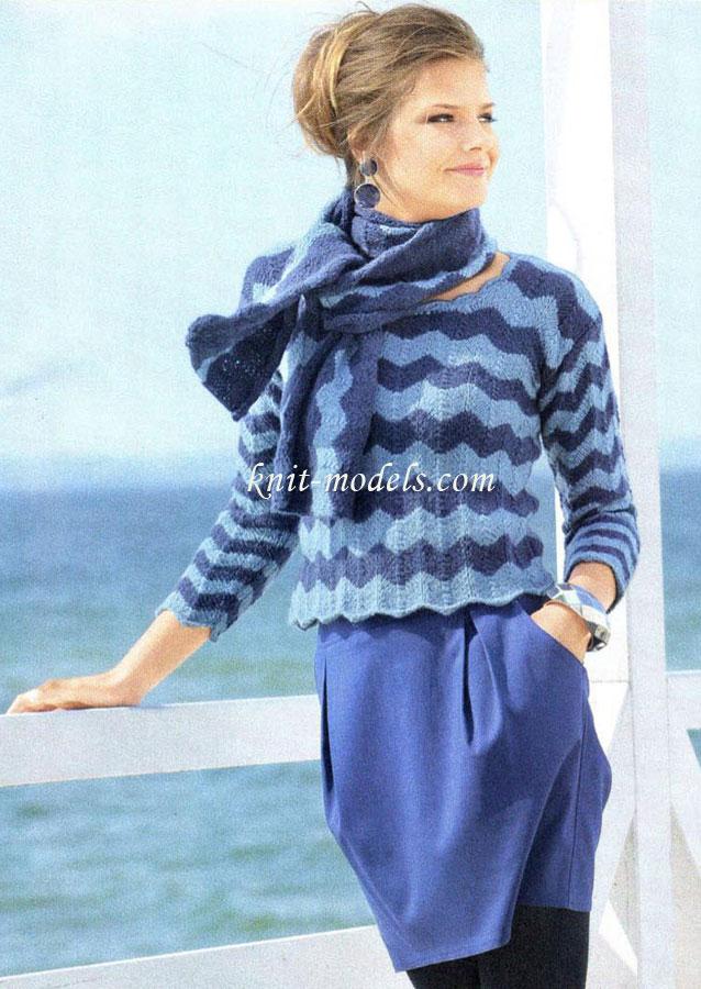 короткий пуловер и шарф