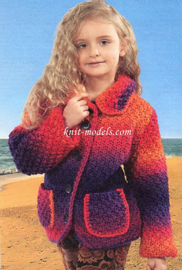 Вязание спицами для девочек. Куртка