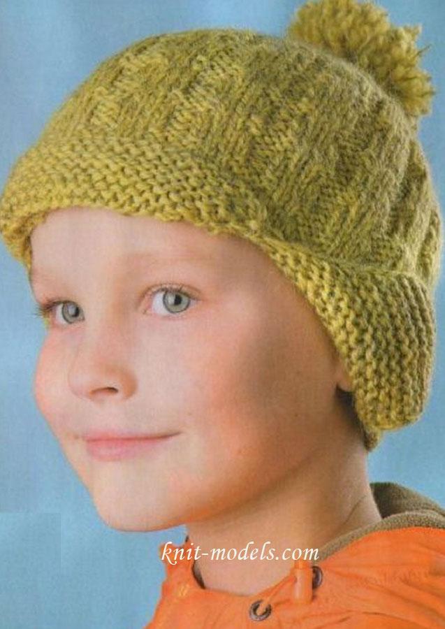 Вязание на спицах кепка с козырьком.