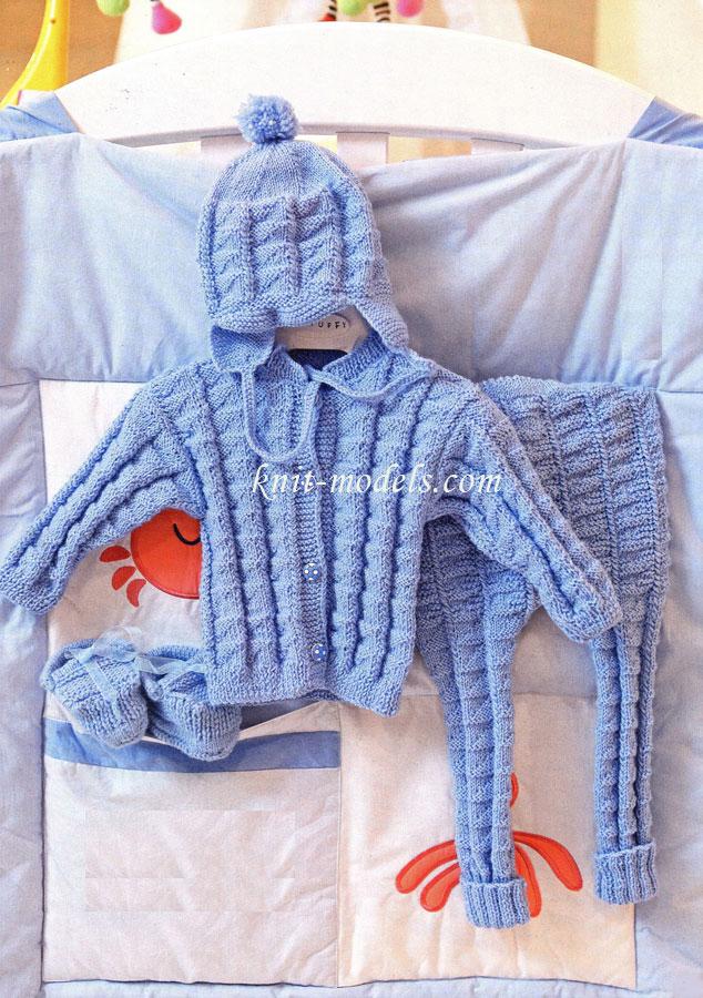 Комплекты вязанные спицами для новорожденных