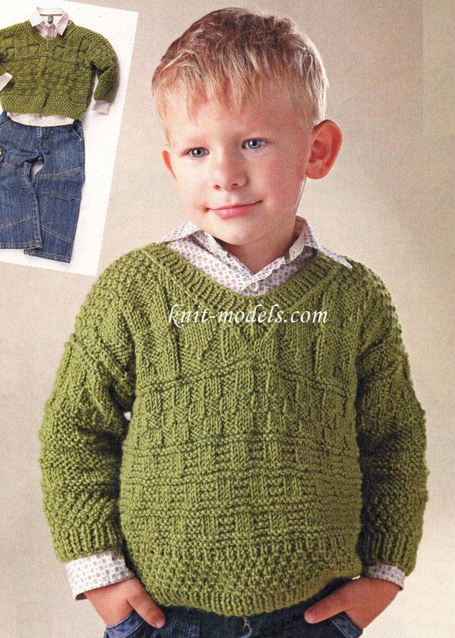 Пуловер для мальчика вязание