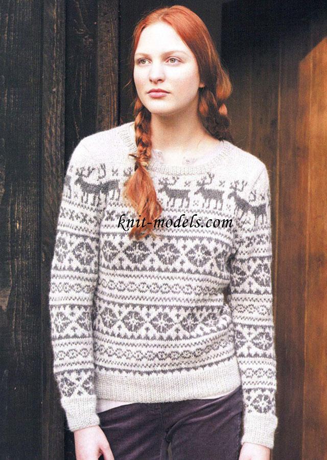 """Пуловер с узором """"Олени"""""""