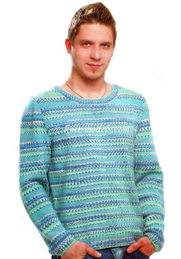 Пуловер из пряжи секционного
