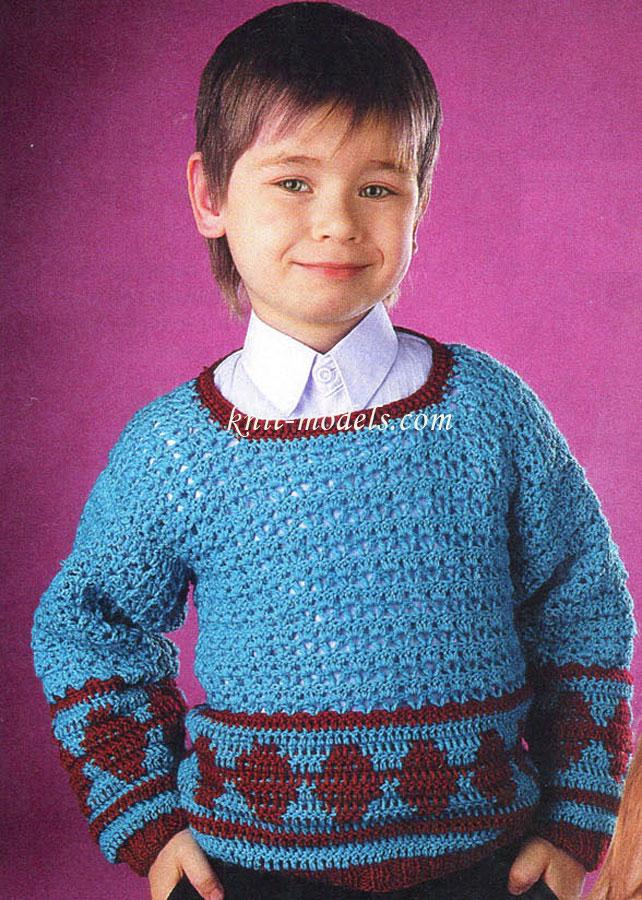 Вязание крючком свитера на мальчика 384